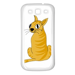 Yellow cat Samsung Galaxy S3 Back Case (White)