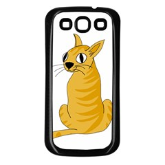 Yellow cat Samsung Galaxy S3 Back Case (Black)