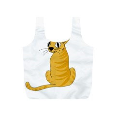 Yellow Cat Full Print Recycle Bags (s)  by Valentinaart