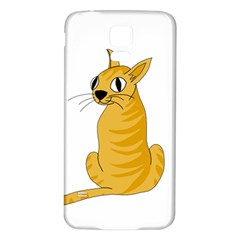 Yellow cat Samsung Galaxy S5 Back Case (White)