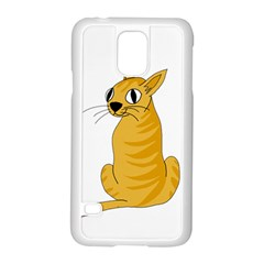 Yellow cat Samsung Galaxy S5 Case (White)