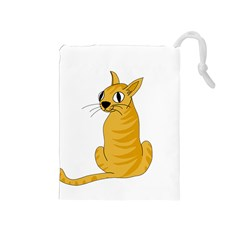 Yellow cat Drawstring Pouches (Medium)
