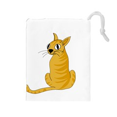 Yellow cat Drawstring Pouches (Large)