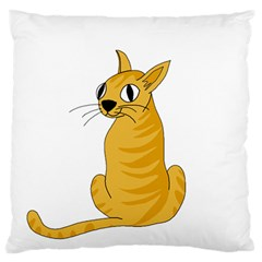 Yellow cat Large Flano Cushion Case (One Side)