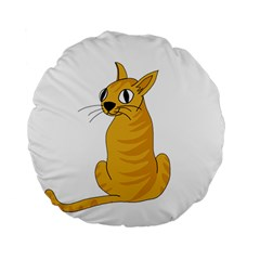 Yellow cat Standard 15  Premium Flano Round Cushions
