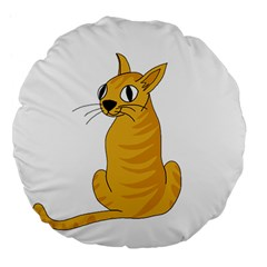 Yellow cat Large 18  Premium Flano Round Cushions