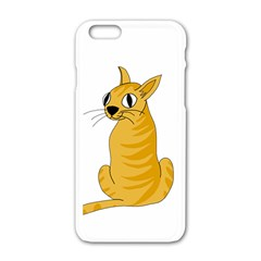 Yellow cat Apple iPhone 6/6S White Enamel Case