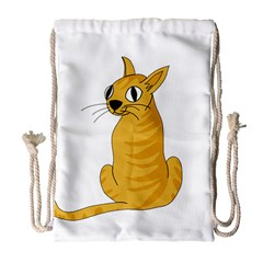 Yellow cat Drawstring Bag (Large)