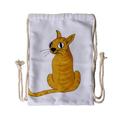 Yellow Cat Drawstring Bag (small) by Valentinaart