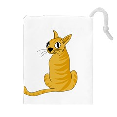 Yellow cat Drawstring Pouches (Extra Large)