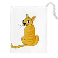 Yellow cat Drawstring Pouches (XXL)