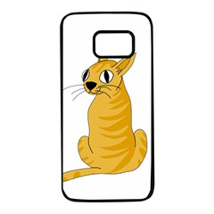 Yellow cat Samsung Galaxy S7 Black Seamless Case