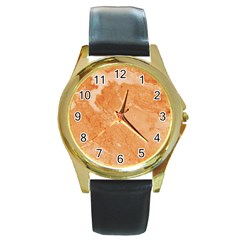 Rose Gold Marble Stone Print Round Gold Metal Watch