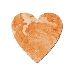 Rose Gold Marble Stone Print Heart Magnet by Dushan