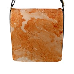 Rose Gold Marble Stone Print Flap Messenger Bag (l)  by Dushan