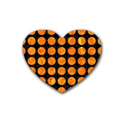 Circles1 Black Marble & Orange Marble Rubber Heart Coaster (4 Pack) by trendistuff
