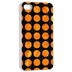 Circles1 Black Marble & Orange Marble Apple Iphone 4/4s Seamless Case (white) by trendistuff