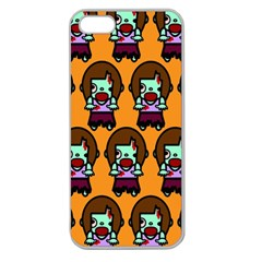 Zombie Woman Fill Orange Apple Seamless Iphone 5 Case (clear)