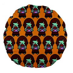 Zombie Woman Fill Orange Large 18  Premium Flano Round Cushions