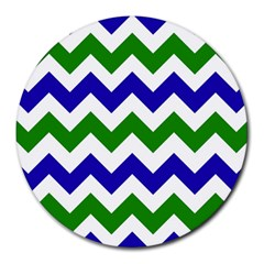 Blue And Green Chevron Round Mousepads by AnjaniArt