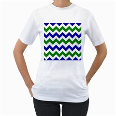Blue And Green Chevron Women s T Shirt (white) (two Sided)