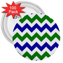 Blue And Green Chevron 3  Buttons (100 Pack)