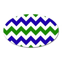 Blue And Green Chevron Oval Magnet