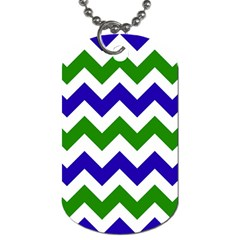 Blue And Green Chevron Dog Tag (two Sides) by AnjaniArt