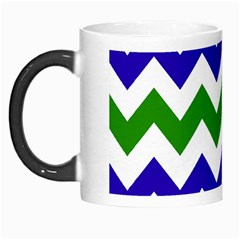 Blue And Green Chevron Morph Mugs by AnjaniArt