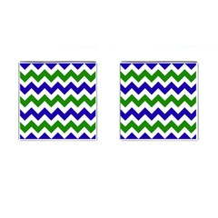 Blue And Green Chevron Cufflinks (square) by AnjaniArt
