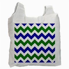 Blue And Green Chevron Recycle Bag (two Side)