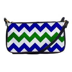 Blue And Green Chevron Shoulder Clutch Bags