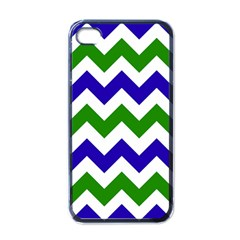 Blue And Green Chevron Apple Iphone 4 Case (black)