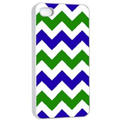 Blue And Green Chevron Apple Iphone 4/4s Seamless Case (white) by AnjaniArt