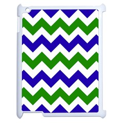 Blue And Green Chevron Apple Ipad 2 Case (white) by AnjaniArt