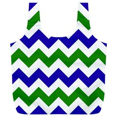 Blue And Green Chevron Full Print Recycle Bags (l)