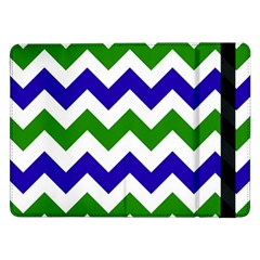Blue And Green Chevron Samsung Galaxy Tab Pro 12 2  Flip Case by AnjaniArt