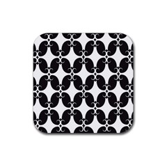 Black Flower Accents Rubber Square Coaster (4 Pack)  by AnjaniArt