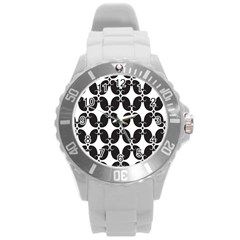 Black Flower Accents Round Plastic Sport Watch (l) by AnjaniArt