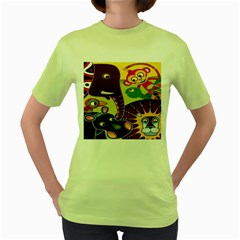 Animals Women s Green T-shirt by AnjaniArt