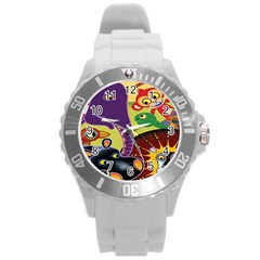 Animals Round Plastic Sport Watch (l) by AnjaniArt