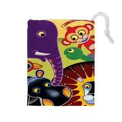 Animals Drawstring Pouches (large)  by AnjaniArt