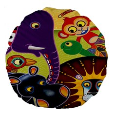 Animals Large 18  Premium Flano Round Cushions