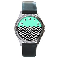 Blue Chevron Round Metal Watch