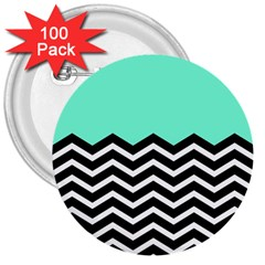 Blue Chevron 3  Buttons (100 Pack)