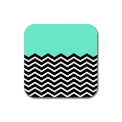 Blue Chevron Rubber Coaster (square)  by AnjaniArt