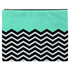 Blue Chevron Cosmetic Bag (xxxl)