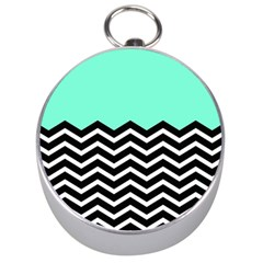 Blue Chevron Silver Compasses by AnjaniArt