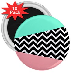 Chevron Green Black Pink 3  Magnets (10 Pack)