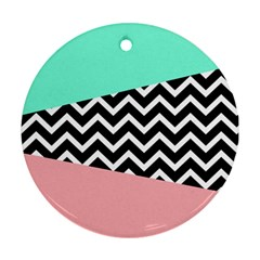 Chevron Green Black Pink Round Ornament (two Sides)